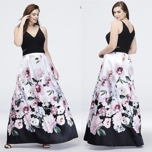 DAVID'S BRIDAL Long Gown Floral and Black
